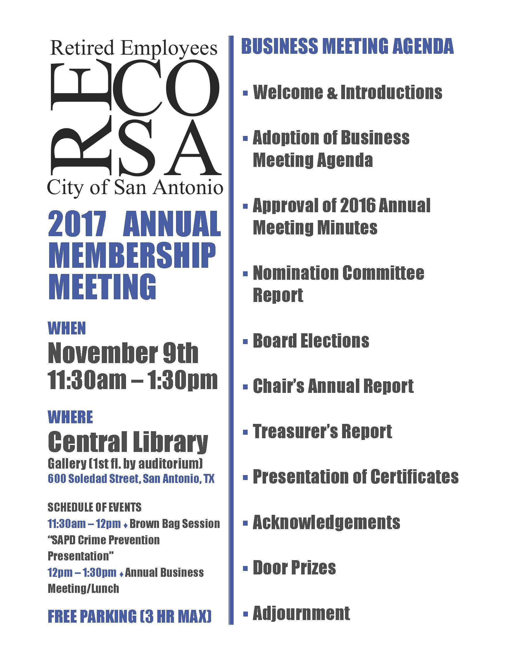 2017-11-09 RECOSA Annual Meeting Flyer